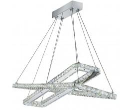 7123CC searchlight CLOVER,2 x LED RECTANGLE FRAME CEILING , CHROME, CLEAR CRYSTAL TRIM