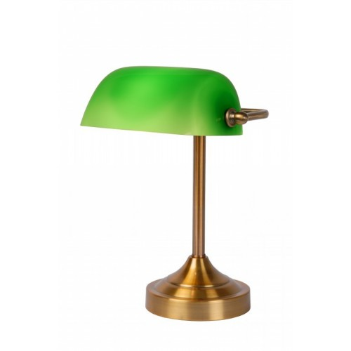 Lucide 17504/01/03 Banke E14 W22cm H30cm Glass Green/ Bronze, Asztali lámpa